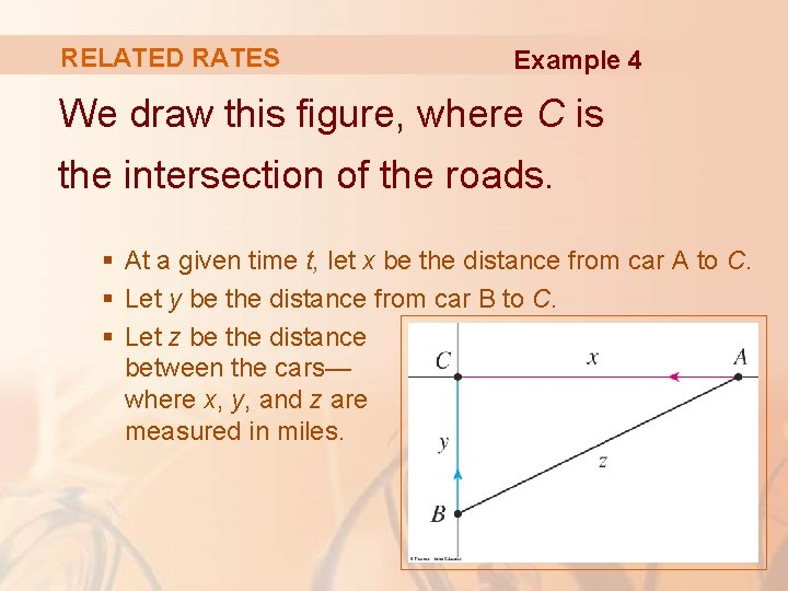 RELATED RATES Example 4 We draw this figure, where C is the intersection of