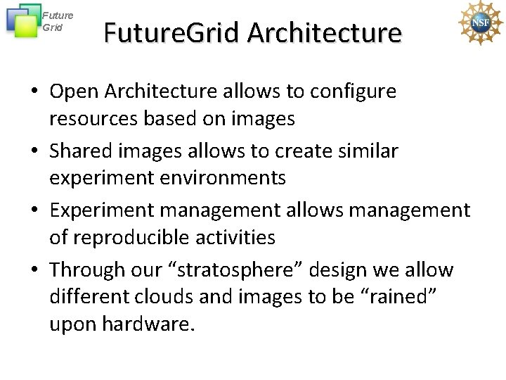 Future Grid Future. Grid Architecture • Open Architecture allows to configure resources based on