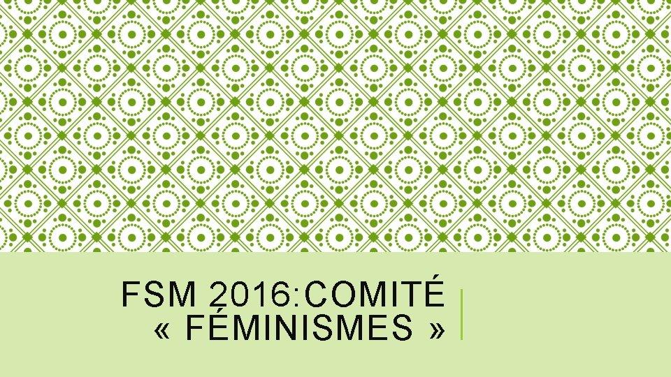 FSM 2016: COMITÉ « FÉMINISMES »