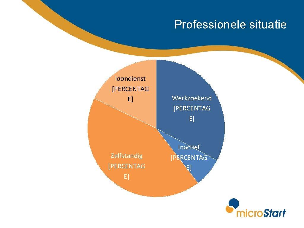 Professionele situatie loondienst [PERCENTAG E] Zelfstandig [PERCENTAG E] Werkzoekend [PERCENTAG E] Inactief [PERCENTAG E]