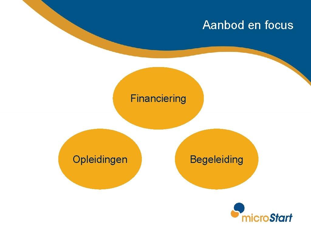 Aanbod en focus Financiering Opleidingen Begeleiding