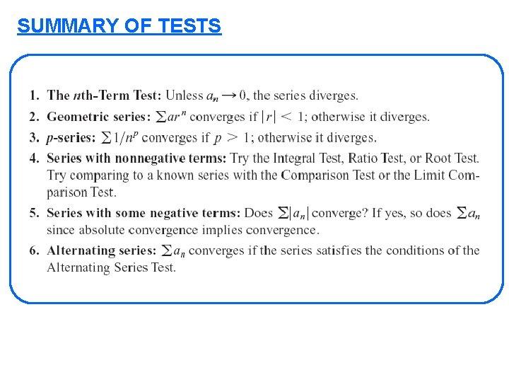 SUMMARY OF TESTS