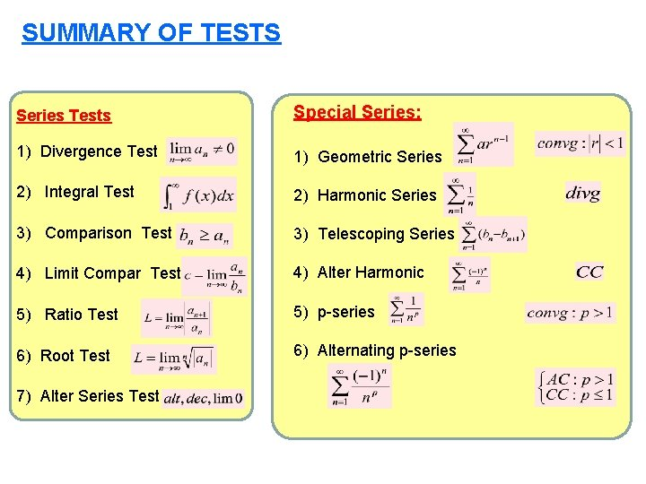 SUMMARY OF TESTS Series Tests Special Series: 1) Divergence Test 1) Geometric Series 2)