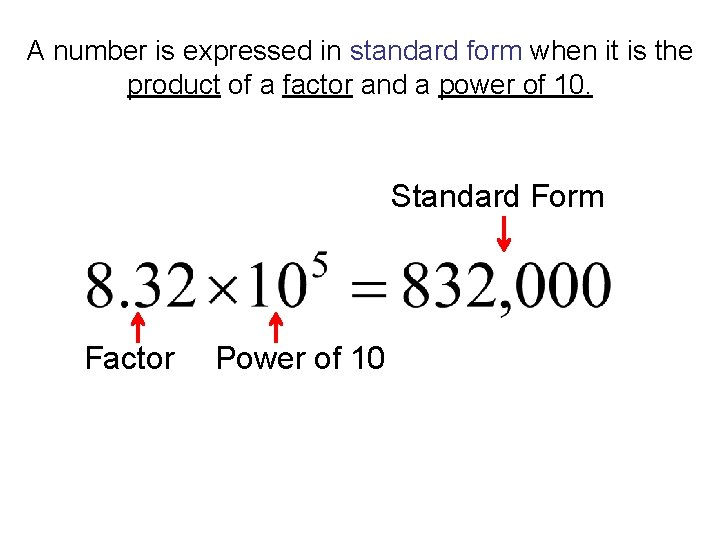 A number is expressed in standard form when it is the product of a