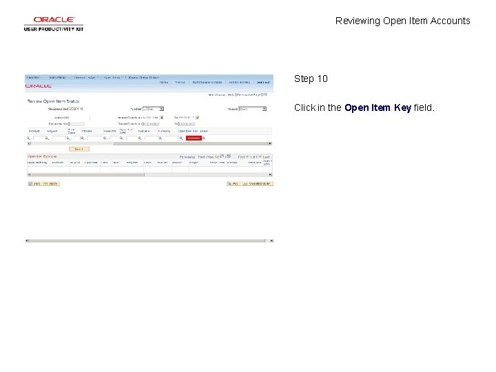 Reviewing Open Item Accounts Step 10 Click in the Open Item Key field.
