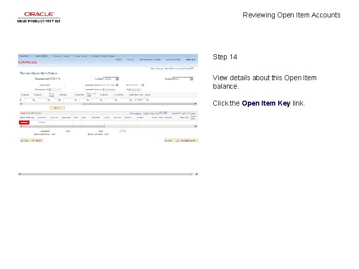 Reviewing Open Item Accounts Step 14 View details about this Open Item balance. Click