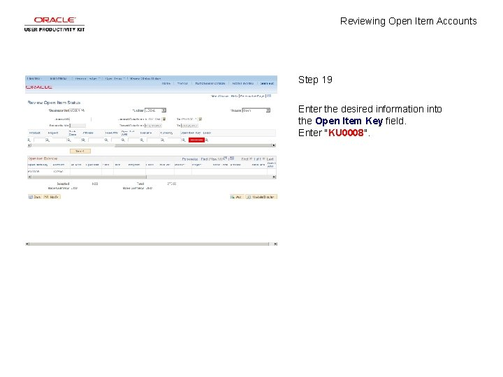 Reviewing Open Item Accounts Step 19 Enter the desired information into the Open Item