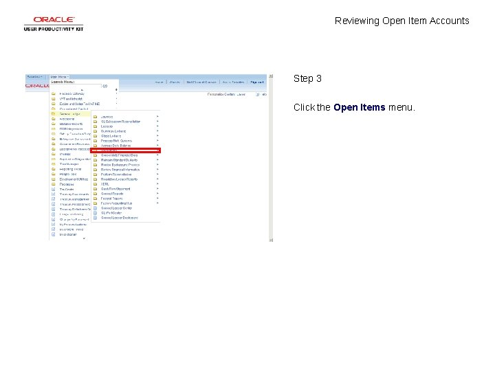 Reviewing Open Item Accounts Step 3 Click the Open Items menu.
