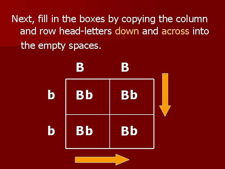 Next, fill in the boxes by copying the column and row head-letters down and