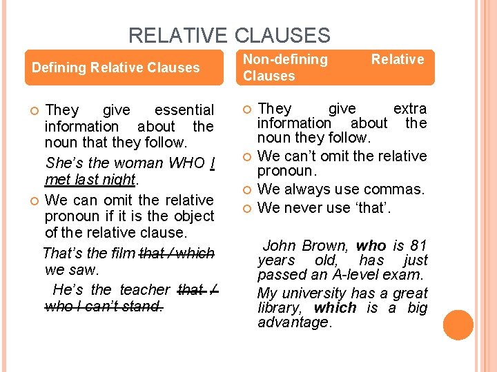 RELATIVE CLAUSES Defining Relative Clauses They give essential information about the noun that they