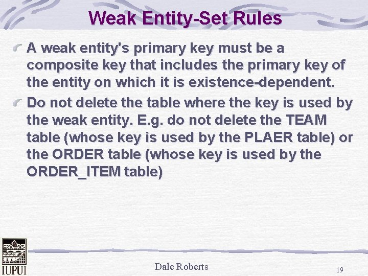 Weak Entity-Set Rules A weak entity's primary key must be a composite key that