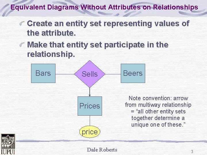 Equivalent Diagrams Without Attributes on Relationships Create an entity set representing values of the