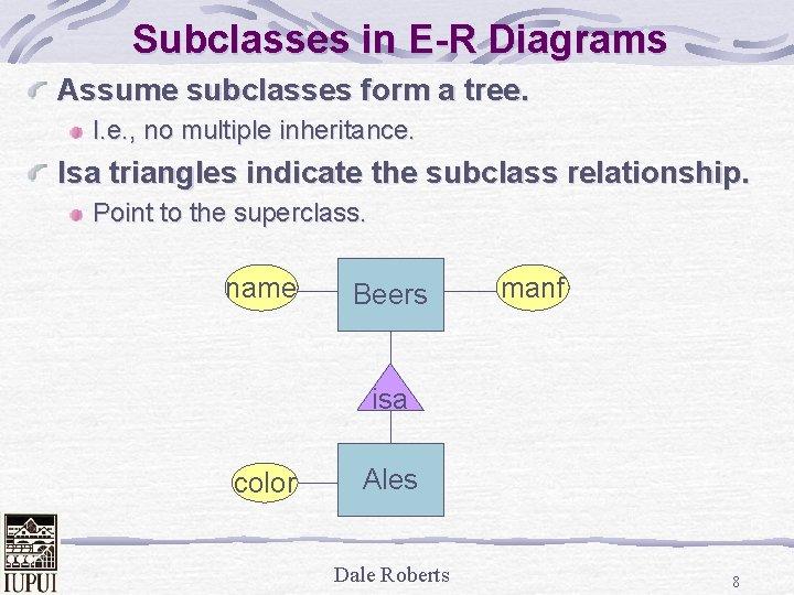 Subclasses in E-R Diagrams Assume subclasses form a tree. I. e. , no multiple