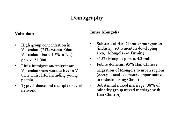 Demography Volendam Inner Mongolia • • High group concentration in Volendam (74% within Edam.