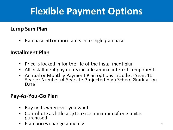 Flexible Payment Options Lump Sum Plan • Purchase 50 or more units in a