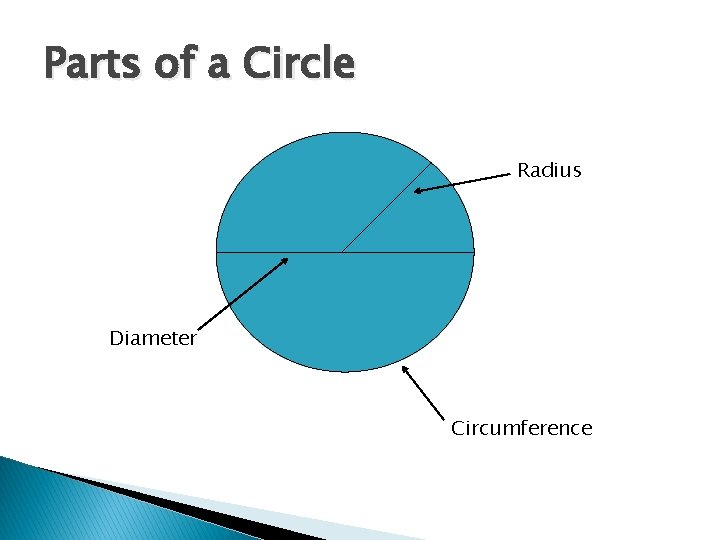 Parts of a Circle Radius Diameter Circumference
