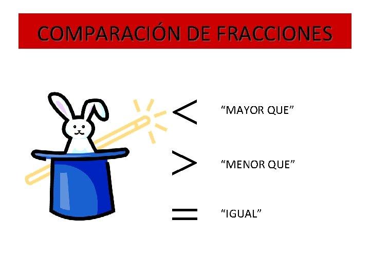 """COMPARACIÓN DE FRACCIONES """"MAYOR QUE"""" """"MENOR QUE"""" """"IGUAL"""""""