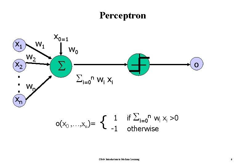 Perceptron x 1 x 2 . . . w 1 w 2 wn x