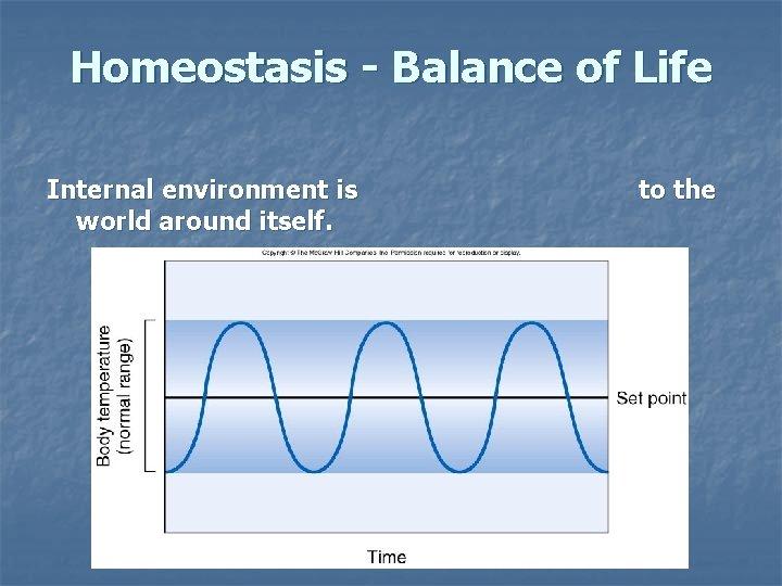 Homeostasis - Balance of Life Internal environment is world around itself. to the