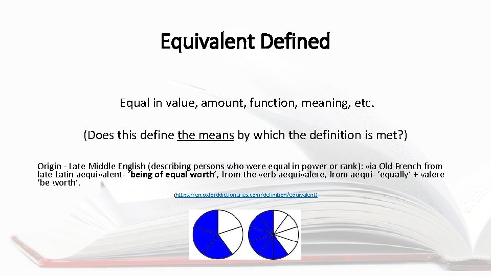 Equivalent Defined Equal in value, amount, function, meaning, etc. (Does this define the means
