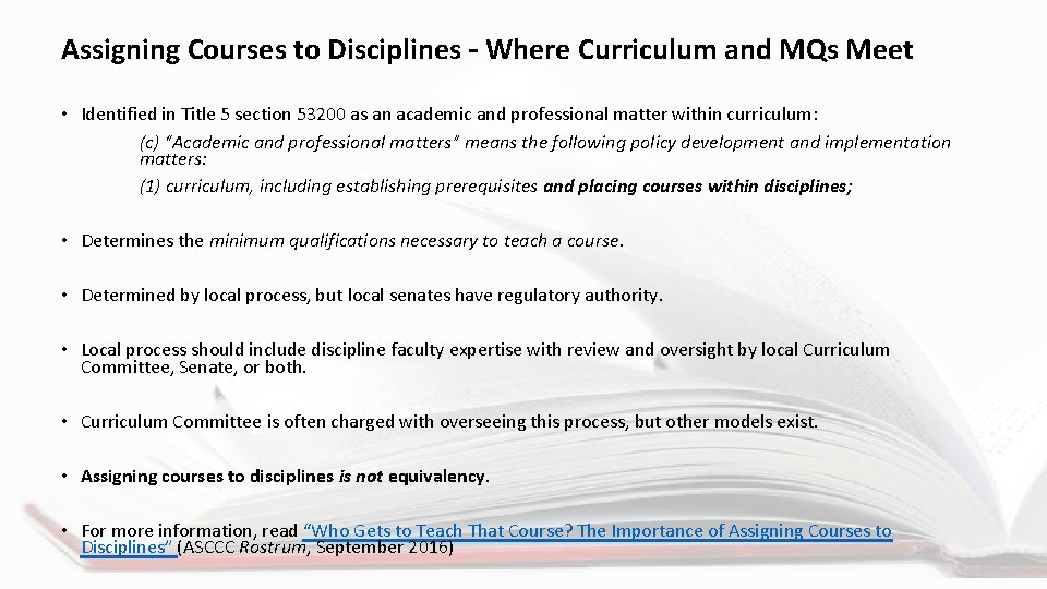 Assigning Courses to Disciplines – Where Curriculum and MQs Meet • Identified in Title