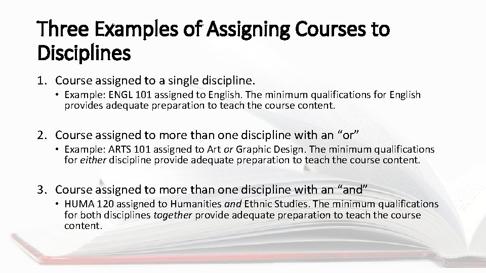 Three Examples of Assigning Courses to Disciplines 1. Course assigned to a single discipline.