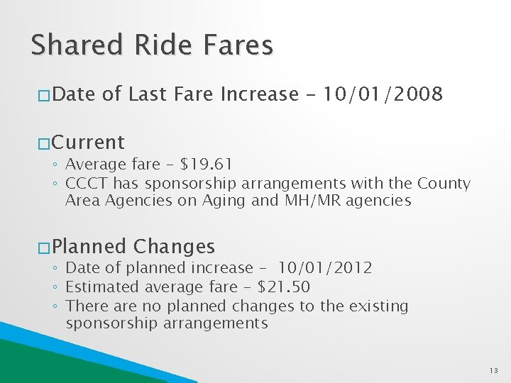 Shared Ride Fares � Date of Last Fare Increase – 10/01/2008 � Current ◦