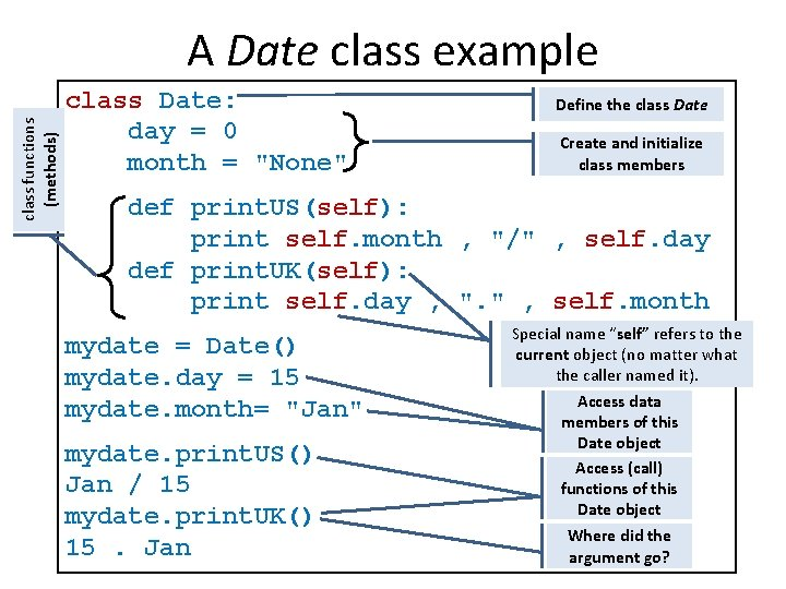 class functions (methods) A Date class example class Date: day = 0 month =