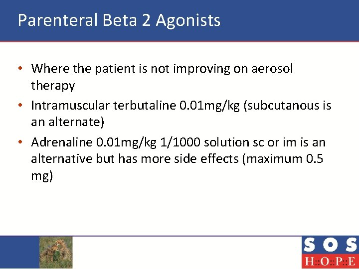 Parenteral Beta 2 Agonists • Where the patient is not improving on aerosol therapy