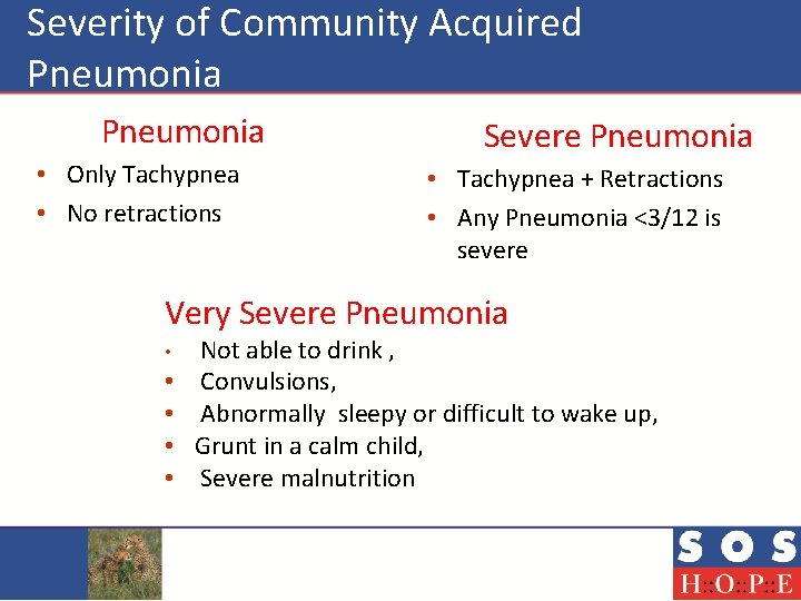 Severity of Community Acquired Pneumonia Severe Pneumonia • Only Tachypnea • No retractions