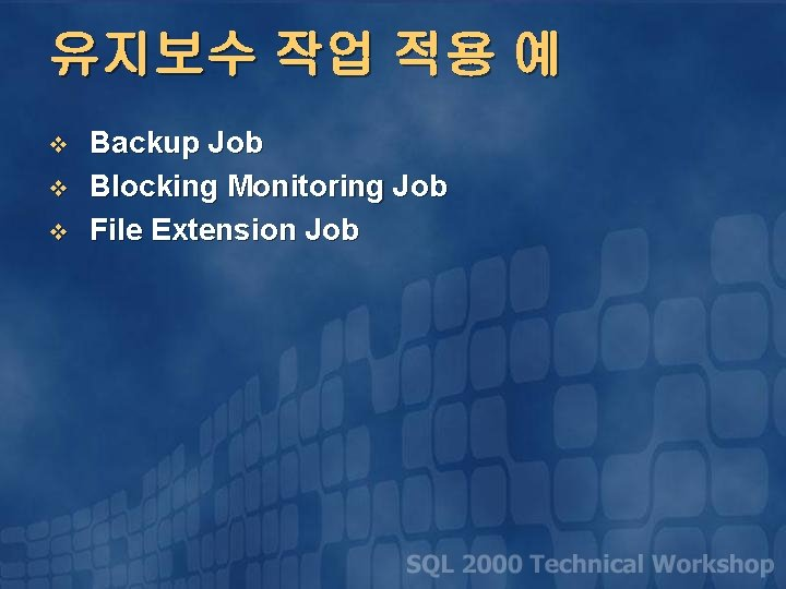 유지보수 작업 적용 예 v v v Backup Job Blocking Monitoring Job File Extension