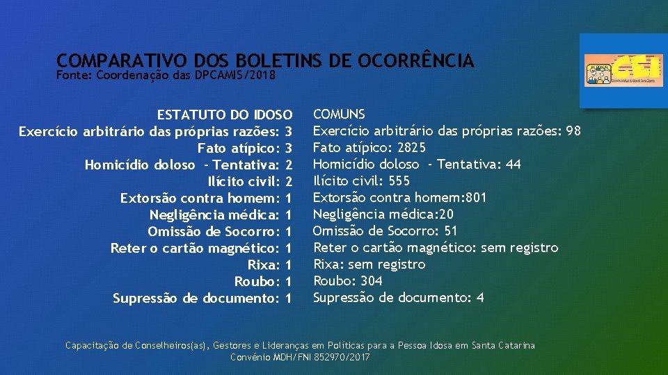COMPARATIVO DOS BOLETINS DE OCORRÊNCIA Fonte: Coordenação das DPCAMIS/2018 ESTATUTO DO IDOSO Exercício arbitrário