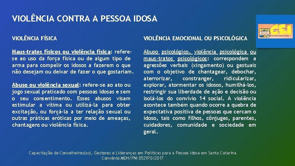 VIOLÊNCIA CONTRA A PESSOA IDOSA VIOLÊNCIA FÍSICA VIOLÊNCIA EMOCIONAL OU PSICOLÓGICA Maus-tratos físicos ou