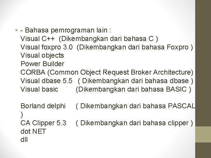• - Bahasa pemrograman lain : Visual C++ (Dikembangkan dari bahasa C )