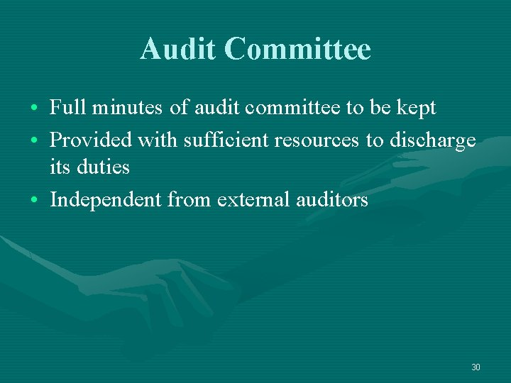 Audit Committee • Full minutes of audit committee to be kept • Provided with
