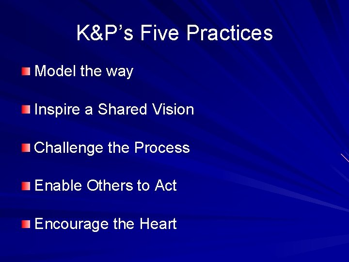 K&P's Five Practices Model the way Inspire a Shared Vision Challenge the Process Enable