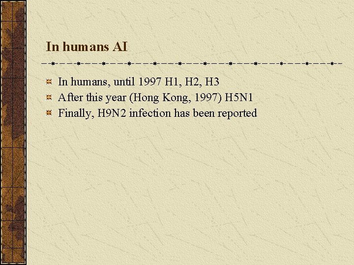 In humans AI In humans, until 1997 H 1, H 2, H 3 After