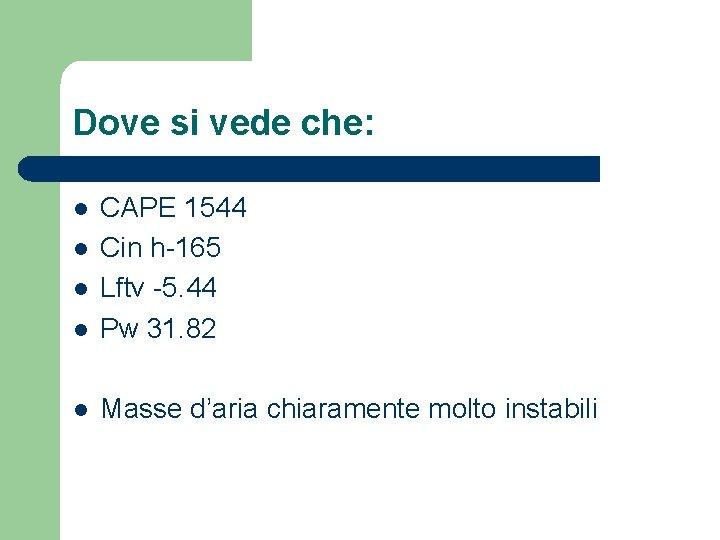 Dove si vede che: l CAPE 1544 Cin h-165 Lftv -5. 44 Pw 31.