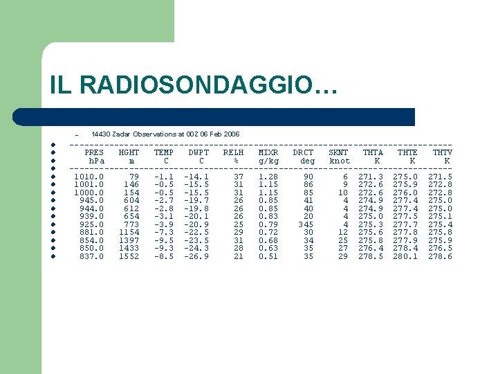 IL RADIOSONDAGGIO… – l l l l 14430 Zadar Observations at 00 Z 06