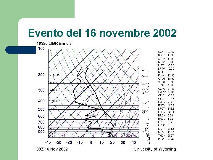 Evento del 16 novembre 2002