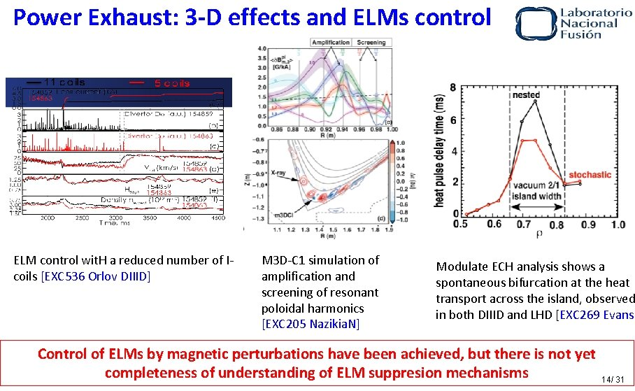 Power Exhaust: 3 -D effects and ELMs control ELM control wit. H a reduced