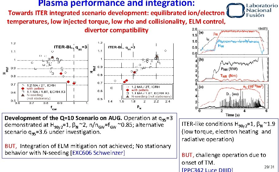 Plasma performance and integration: Towards ITER integrated scenario development: equilibrated ion/electron temperatures, low injected
