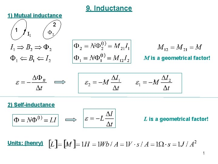 9. Inductance 1) Mutual inductance 1 2 I 1 M is a geometrical factor!