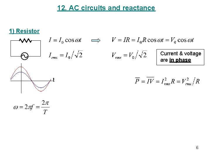 12. AC circuits and reactance 1) Resistor Current & voltage are in phase t