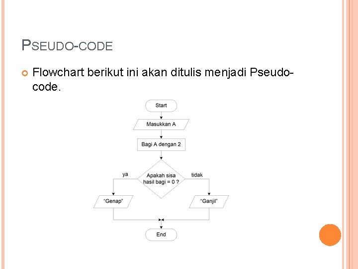 PSEUDO-CODE Flowchart berikut ini akan ditulis menjadi Pseudocode.