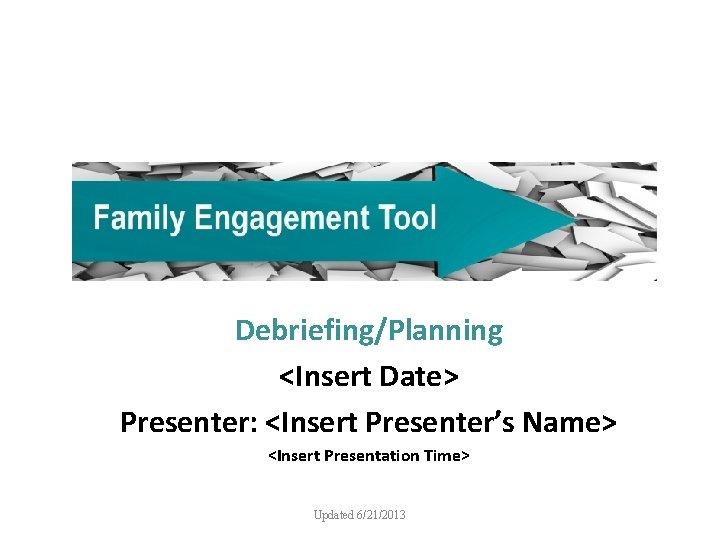 Debriefing/Planning <Insert Date> Presenter: <Insert Presenter's Name> <Insert Presentation Time> Updated 6/21/2013