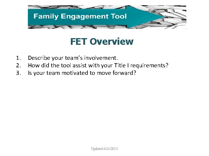 FET Overview 1. 2. 3. Describe your team's involvement. How did the tool assist