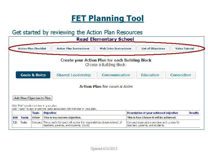 FET Planning Tool Get started by reviewing the Action Plan Resources Updated 6/21/2013