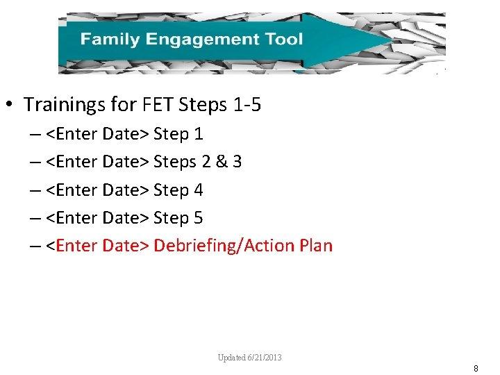 • Trainings for FET Steps 1 -5 – <Enter Date> Step 1 –
