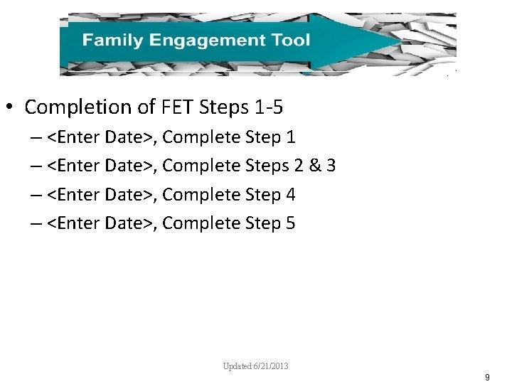 • Completion of FET Steps 1 -5 – <Enter Date>, Complete Step 1